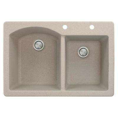 Aversa Drop-in Granite 33 in. 2-Hole 1-3/4 D-Shape Double Bowl Kitchen Sink in Cafe Latte