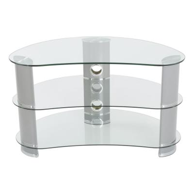 Silver and Clear Glass Curved up to 42 in. TV Stand