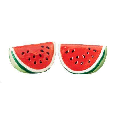 Season Watermelon 1 oz. Green-Red Ceramic Salt and Pepper Shakers with Figural Shapes