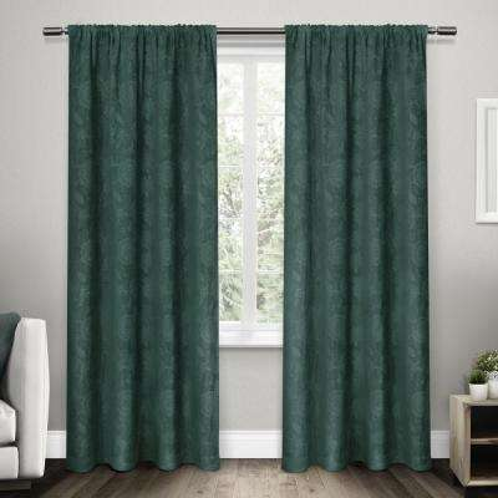 Elle Teal Heavyweight Floral Scroll Chenille Jacquard Rod Pocket Top Window Curtain