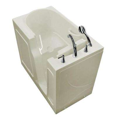 Nova Heated 3.9 ft. Walk-In Non-Whirlpool Bathtub in Biscuit with Chrome Trim