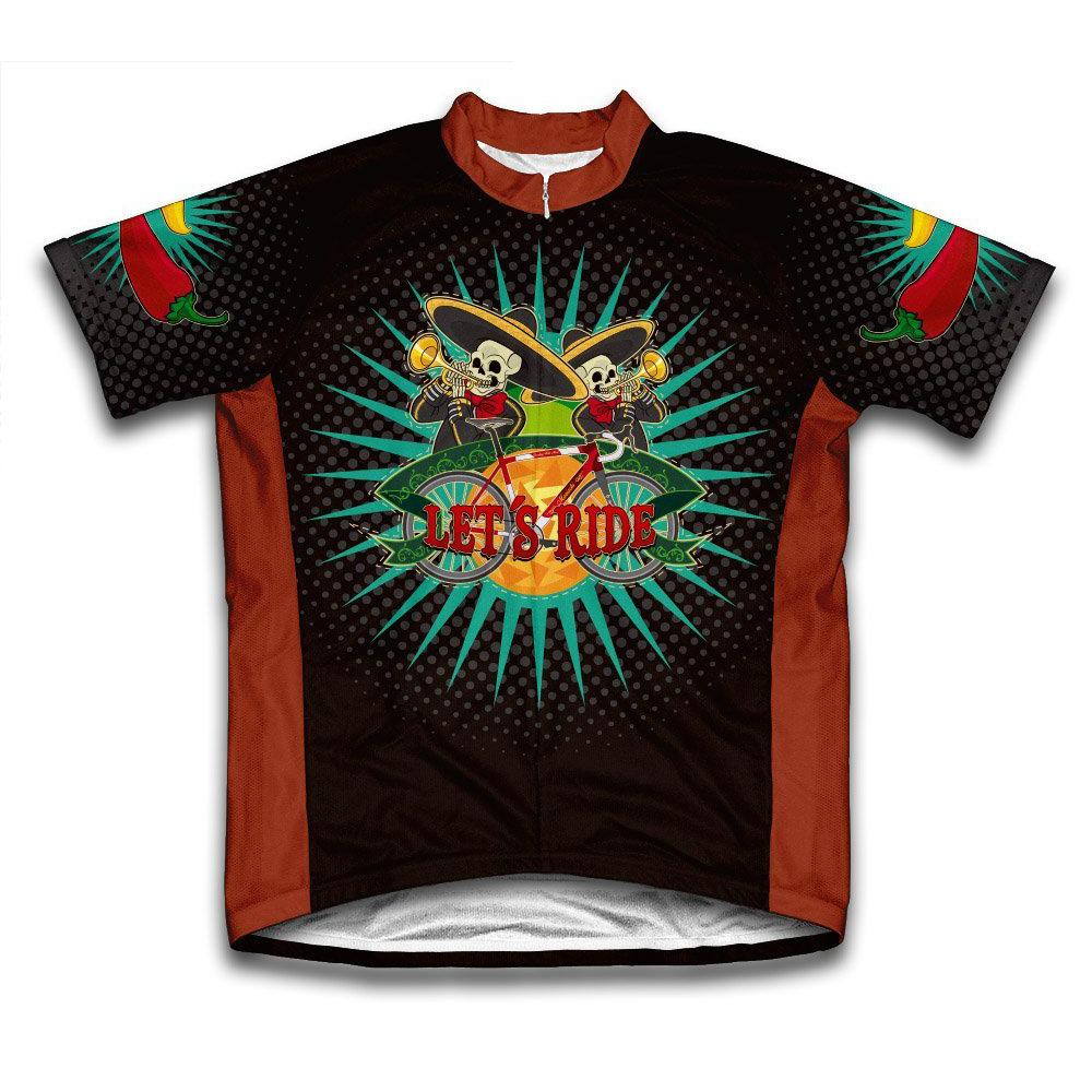 Unisex Extra Large Multi-Colored Mariachi Microfiber Short-Sleeved Cycling Jersey