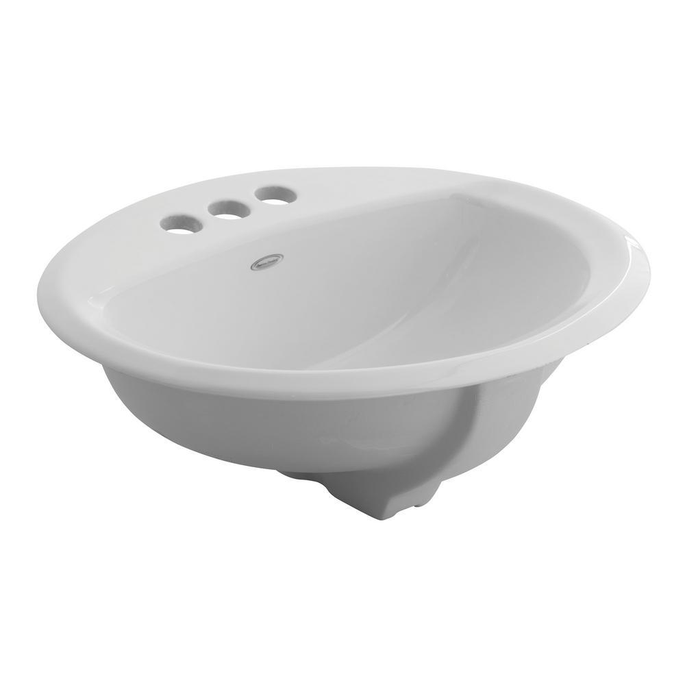 Aqualyn Self-Rimming Bathroom Sink in White