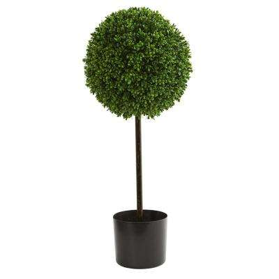 2.5 ft. UV Resistant Indoor/Outdoor Boxwood Ball Artificial Topiary Tree