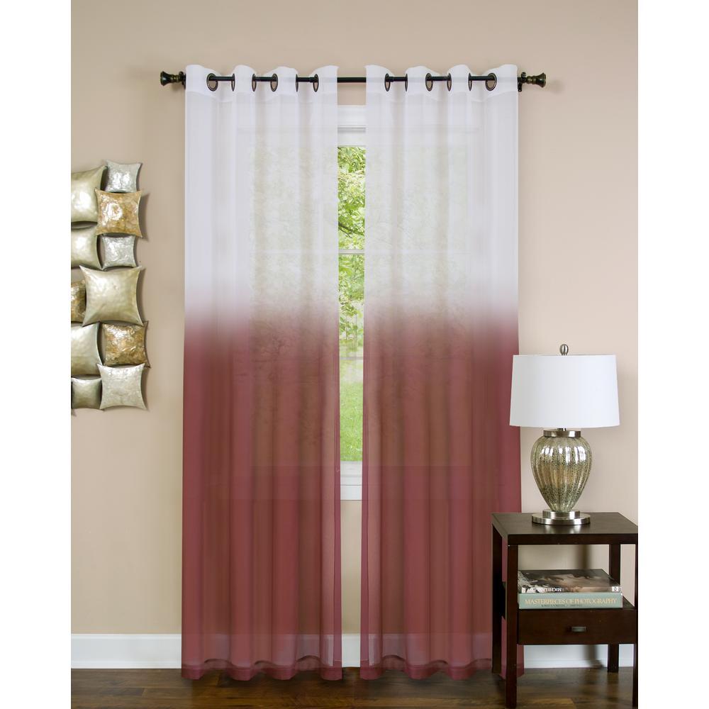 Sheer Essence Burgundy Window Curtain Panel - 52 in. W x 84 in. L