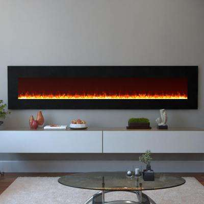 Grand 95 in. Crystal Electric Wall Mounted Fireplace in Black