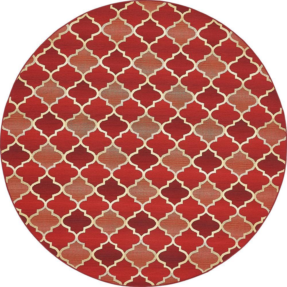 Unique Loom Outdoor Red 8 X Round Indoor Rug