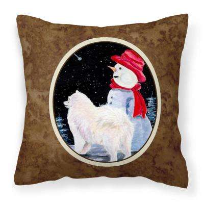 14 in. x 14 in. Multi-Color Lumbar Outdoor Throw Pillow Samoyed Decorative Canvas Fabric Pillow