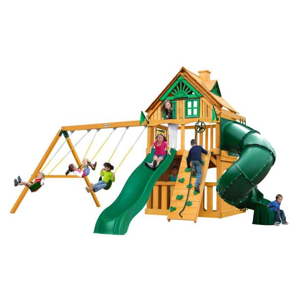 Mountaineer Clubhouse Treehouse Wooden Swing Set with Tube Slide and Rock Wall