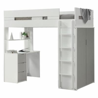 Amelia White and Gray Single Loft Bed with Storage