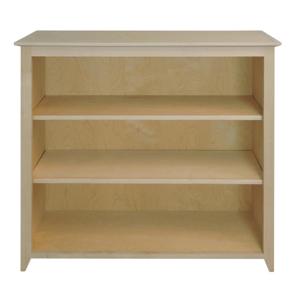 Shaker Style Unfinished 3-Shelf Bookcase