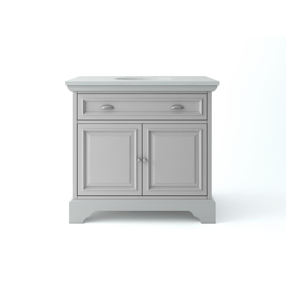 Home Decorators Collection Sadie 38 in. W x 21.5 in. D Vanity in Dove Grey with Marble Vanity Top in Natural White with White Sink
