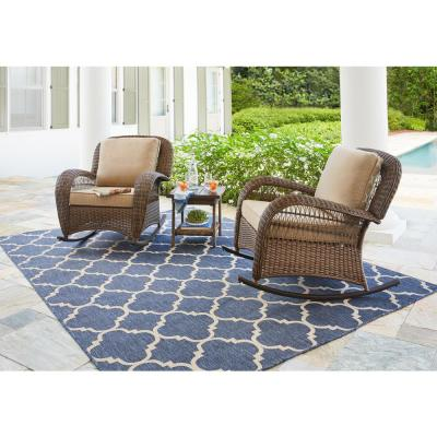 Beacon Park Brown Wicker Outdoor Patio Rocking Chair with CushionGuard Toffee Trellis Tan Cushions