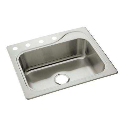 Southhaven Drop-in Stainless Steel 25 in. 4-Hole Single Bowl Kitchen Sink