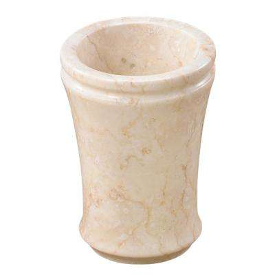 Natural Champagne Marble Fluted Collection Bathroom Tumbler Toothbrush Makeup Brush Holder Organizer
