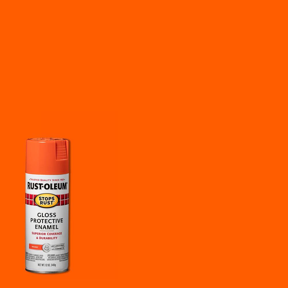 Rust-Oleum Stops Rust 12 oz. Protective Enamel Gloss Orange Spray Paint (6-Pack)