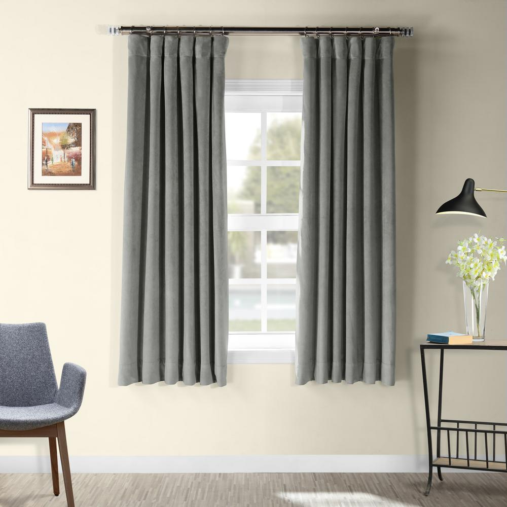 Exclusive Fabrics & Furnishings Signature Silver Grey Blackout Velvet Curtain - 50 in. W x 63 in. L