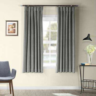 Signature Silver Grey Blackout Velvet Curtain - 50 in. W x 63 in. L
