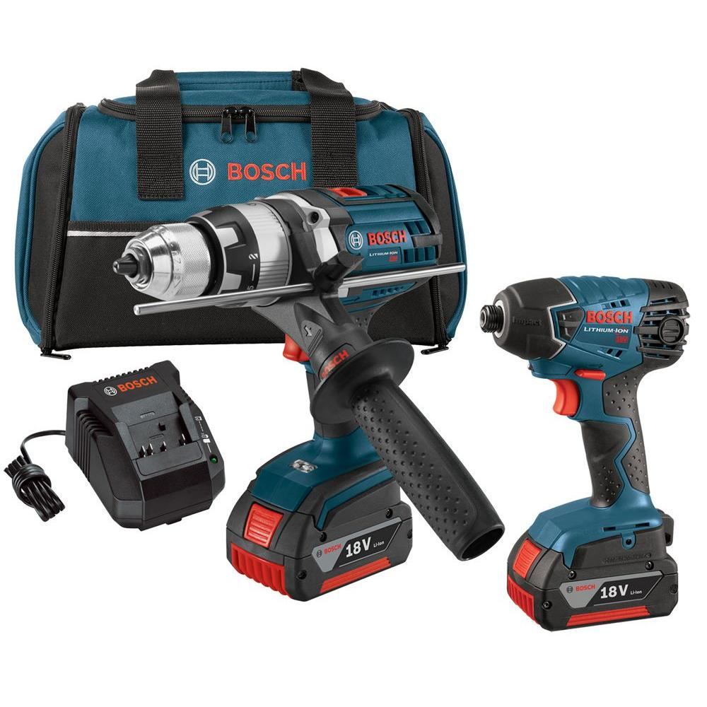 18-Volt Lithium-Ion Cordless 1/2 in. Drill/Driver and 1/4 in. Impact Driver
