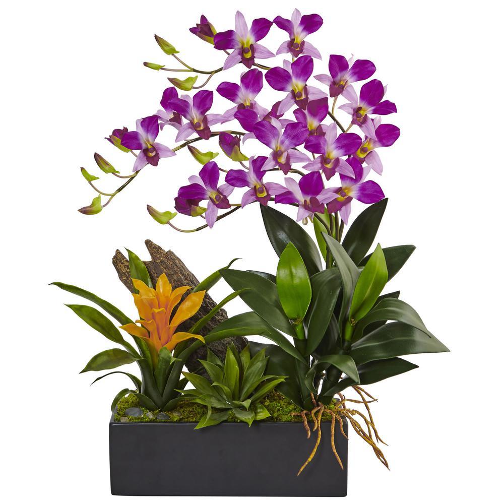Dendrobium Orchid and Bromeliad Silk Arrangement