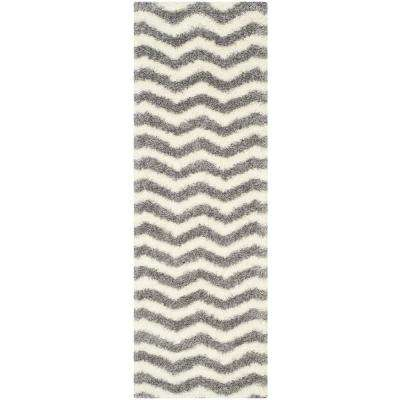 Montreal Shag Ivory/Gray 2 ft. 3 in. x 5 ft. Runner Rug
