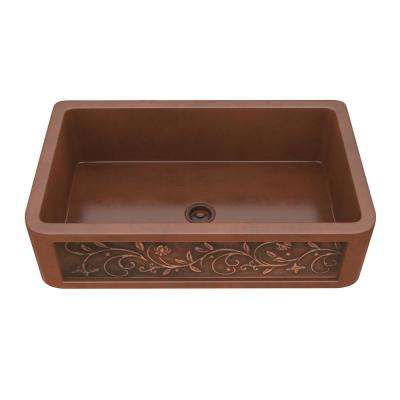 Vattay Farmhouse Handmade Copper 36 in. Single Bowl Kitchen Sink with Floral Design Panel in Polished Antique Copper
