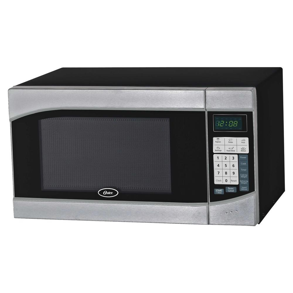Oster 0 9 Cu Ft 900 Watt Countertop Microwave In Black