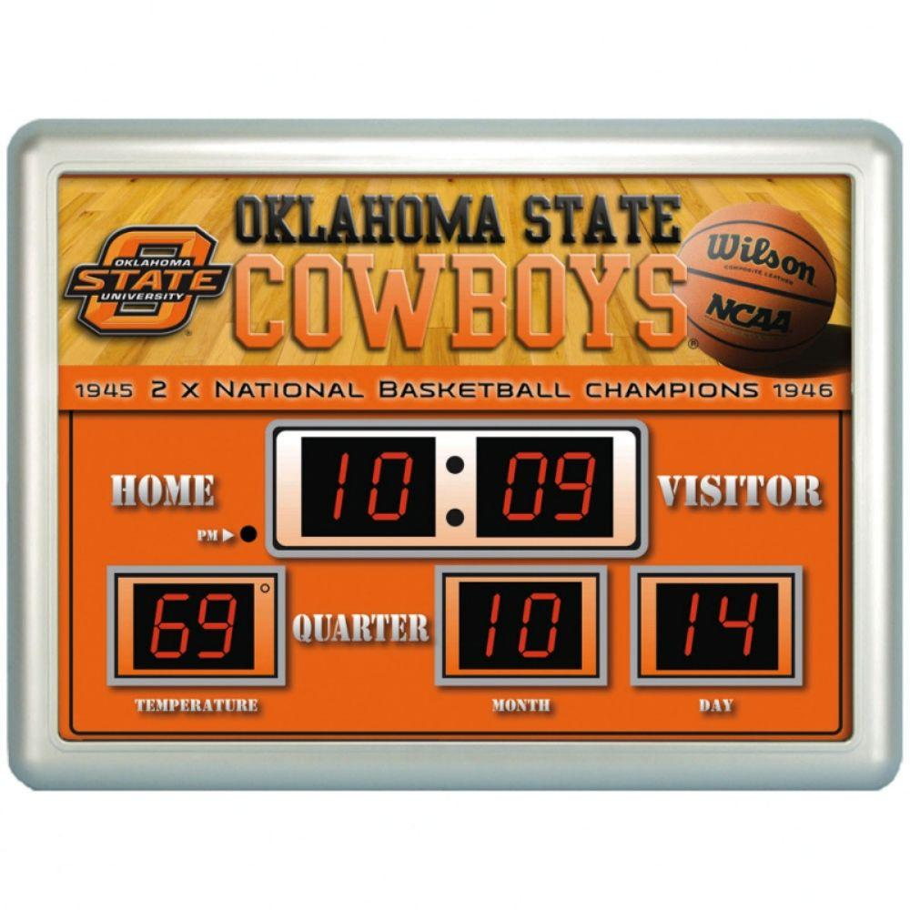 null Oklahoma State University 14 in. x 19 in. Scoreboard Clock with Temperature