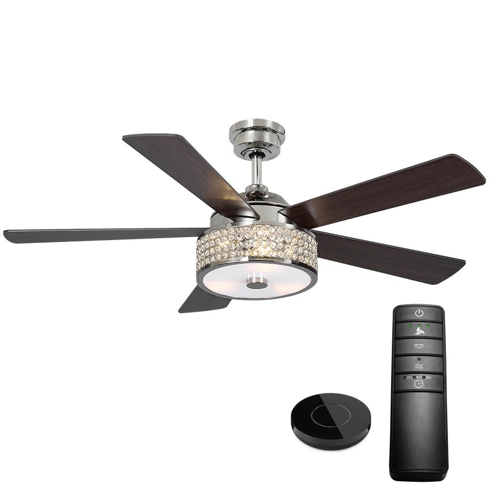 Home Decorators Collection Montclaire 52 in. LED Polished Nickel Ceiling Fan with Light Kit works with Google Assistant and Alexa
