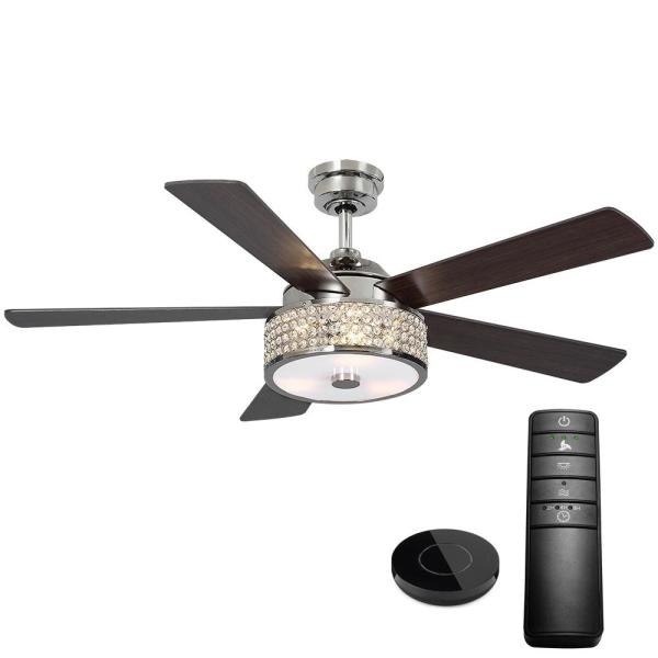 Home Decorators Collection Montclaire 52 In Led Polished Nickel Ceiling Fan With Light Kit Works With Google Assistant And Alexa 20091 The Home Depot