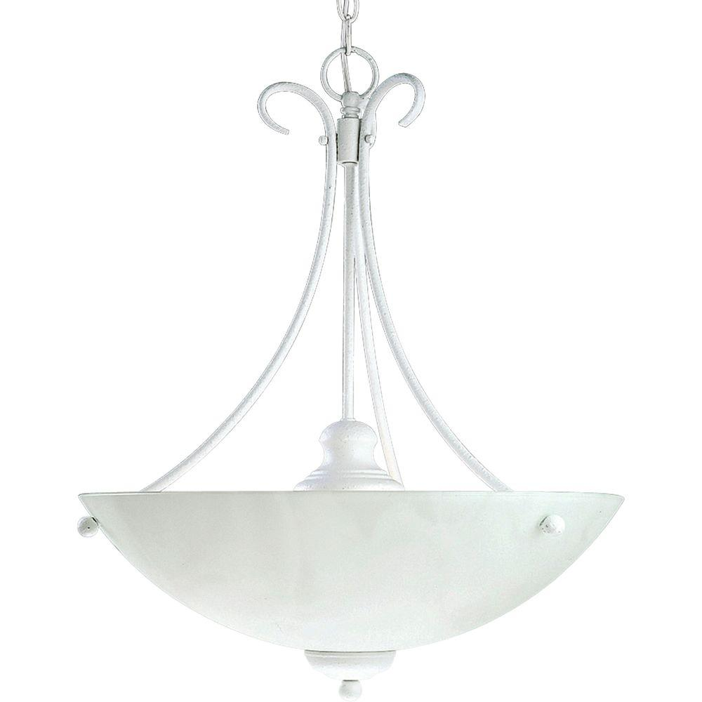 Progress Lighting Travera Collection Textured White 3-light Foyer Pendant-DISCONTINUED