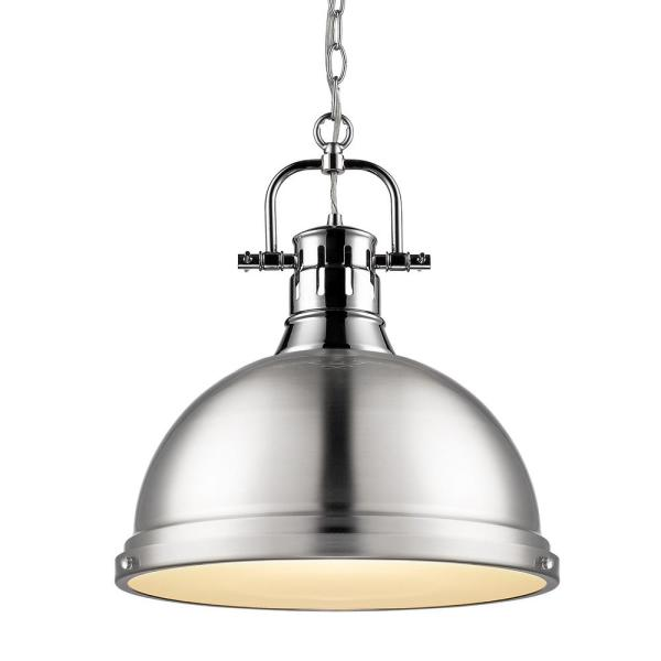 Duncan 1-Light Pendant with Chain in Chrome with a Pewter Shade