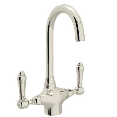 Country Kitchen 2-Handle Bar Faucet in Polished Nickel