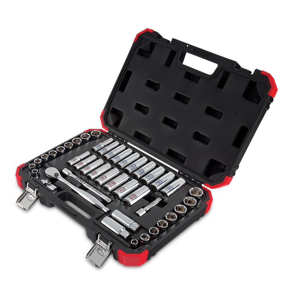 Sunex 3842 3/8 in. Drive Chrome Socket Set (42-Piece)
