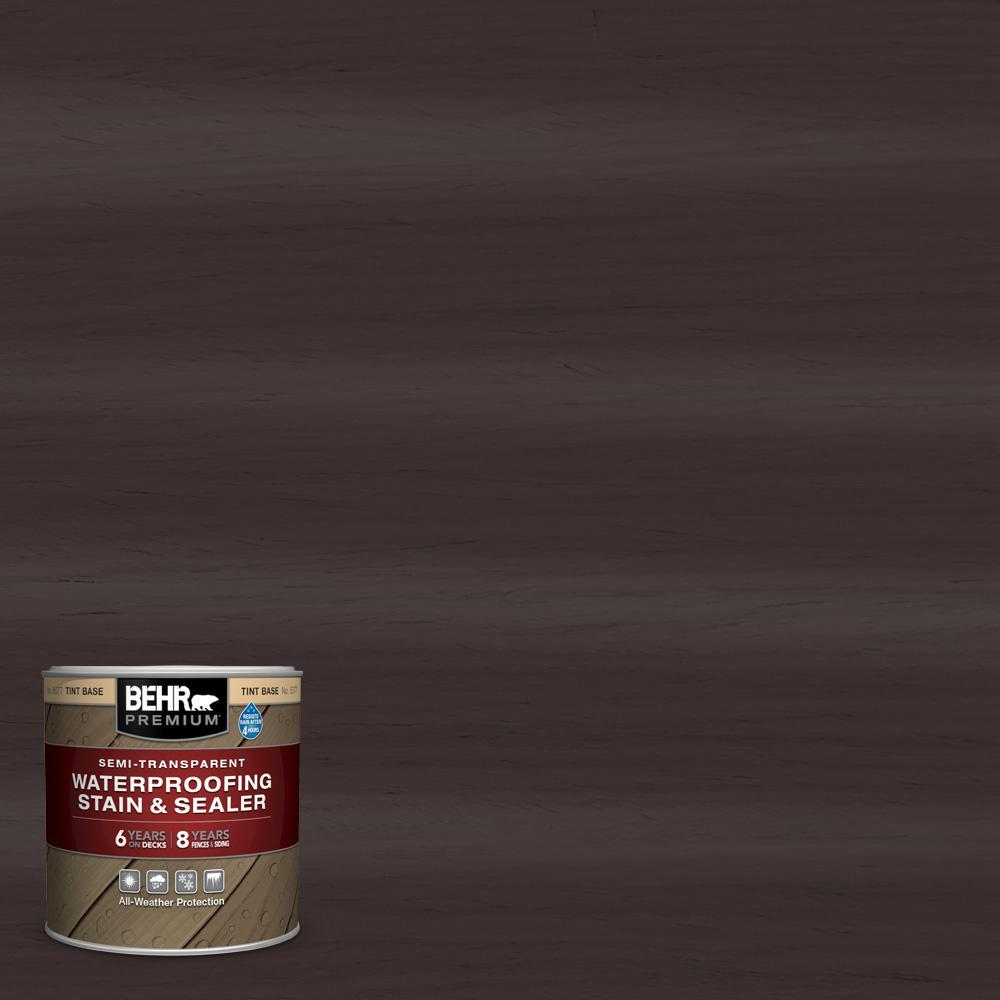 BEHR PREMIUM 8 oz. #ST-104 Cordovan Brown Semi-Transparent Waterproofing Exterior Wood Stain and Sealer Sample