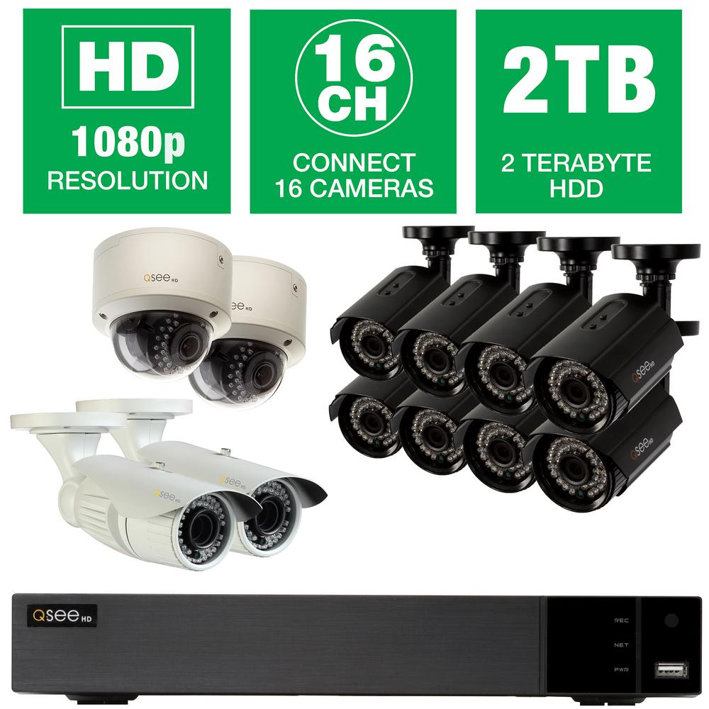 QSEE Q-SEE 16-Channel 1080p 2TB Video Surveillance System with (8) Bullet Cameras, (2) Dome Cameras and (2) Auto-Focus Cameras