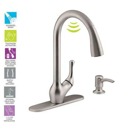 Barossa with Response Touchless Technology Single-Handle Pull-Down Sprayer Kitchen Faucet in Vibrant Stainless