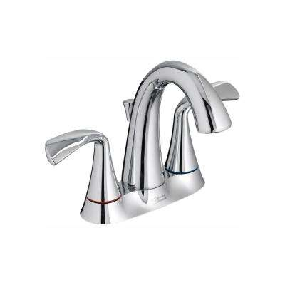 Fluent 4 in. Centerset 2-Handle Bathroom Faucet with Metal Speed Connect Drain and Color Indicator in Polished Chrome
