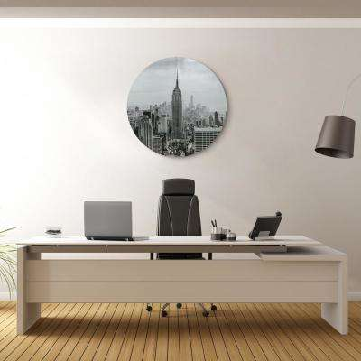 """Empire State Building"" Circular Silver Canvas Giclee Printed on 2"" Wood Stretcher Wall Art"