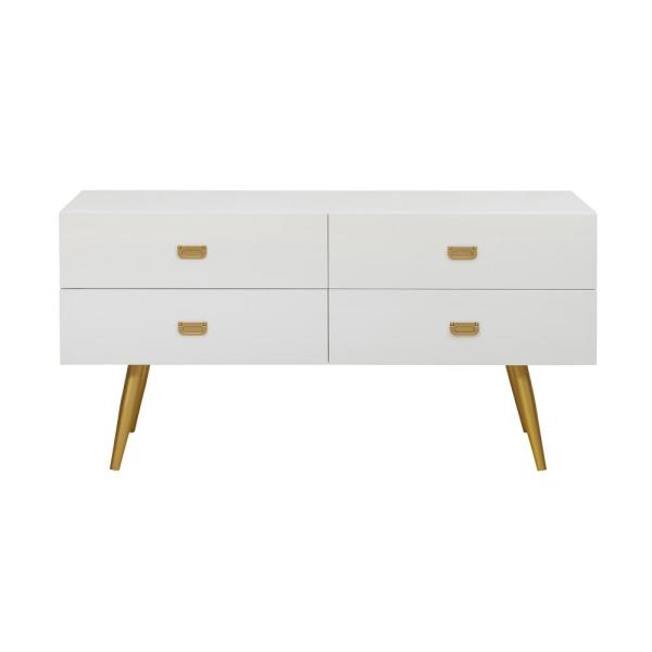 Accentrics Home White/Gold Four Drawer Chest DS-D204-048