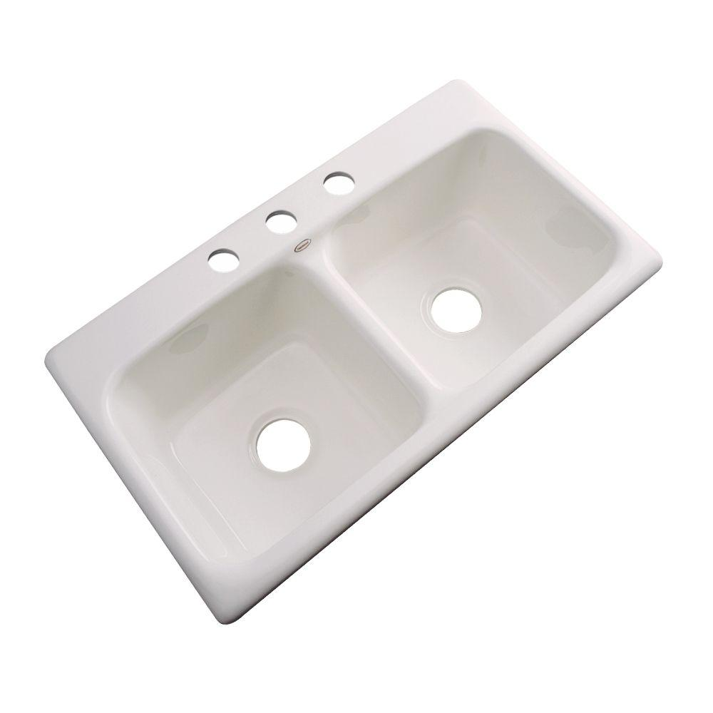 Thermocast Brighton Drop-In Acrylic 33 in. 3-Hole Double Bowl Kitchen Sink in Almond