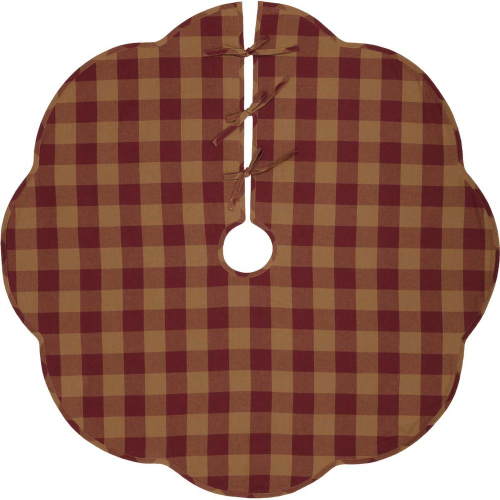 VHC Brands 48 in Burgundy Check Red Primitive Christmas Decor Scalloped Tree Skirt