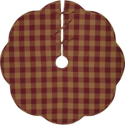 48 in. Burgundy Check Red Primitive Christmas Decor Scalloped Tree Skirt