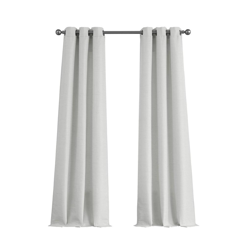 Raw Faux Silk Grommet 76 In X 84 Curtain Panel Pair Pure White