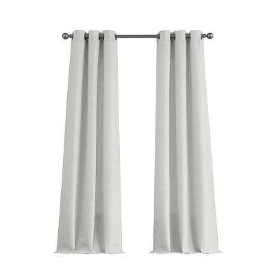 Raw Faux Silk Grommet 76 in. x 84 in. Curtain Panel Pair in Pure White