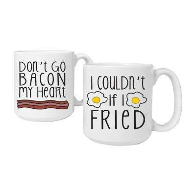 20 oz. Ceramic Bacon & Eggs Large Coffee Mugs