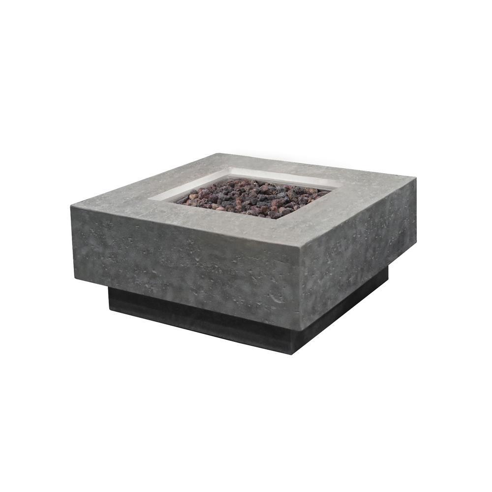 Manhattan 36 in. x 16 in. Square Concrete Propane Fire Pit Table in Light Gray