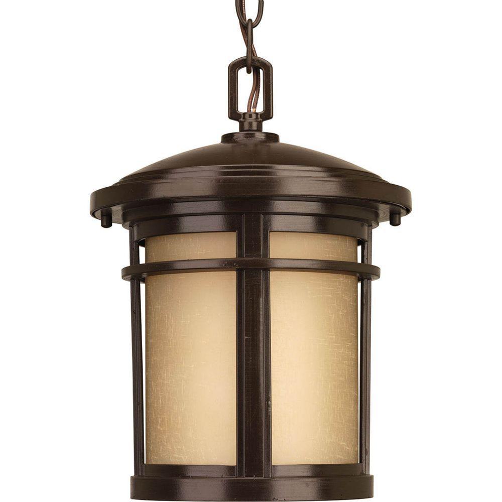Wish Collection 1-Light Outdoor Antique Bronze Hanging Lantern