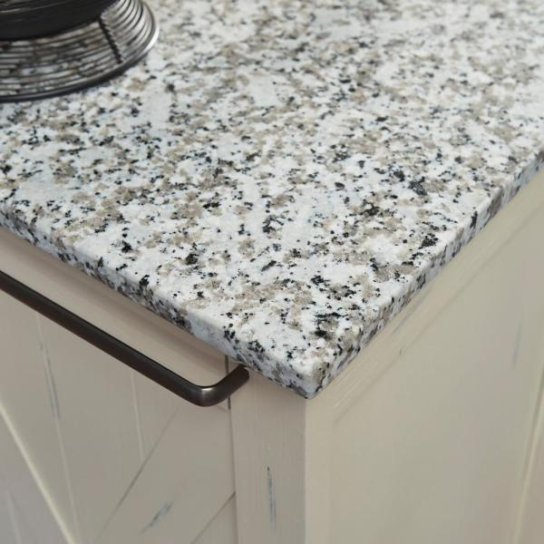 Homestyles Seaside White Kitchen Cart With Salt And Pepper Granite Top 5523 953 The Home Depot