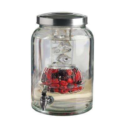Valencia 2.76 Gal. Clear Glass Beverage Dispenser with Ice Insert and Fruit Infuser